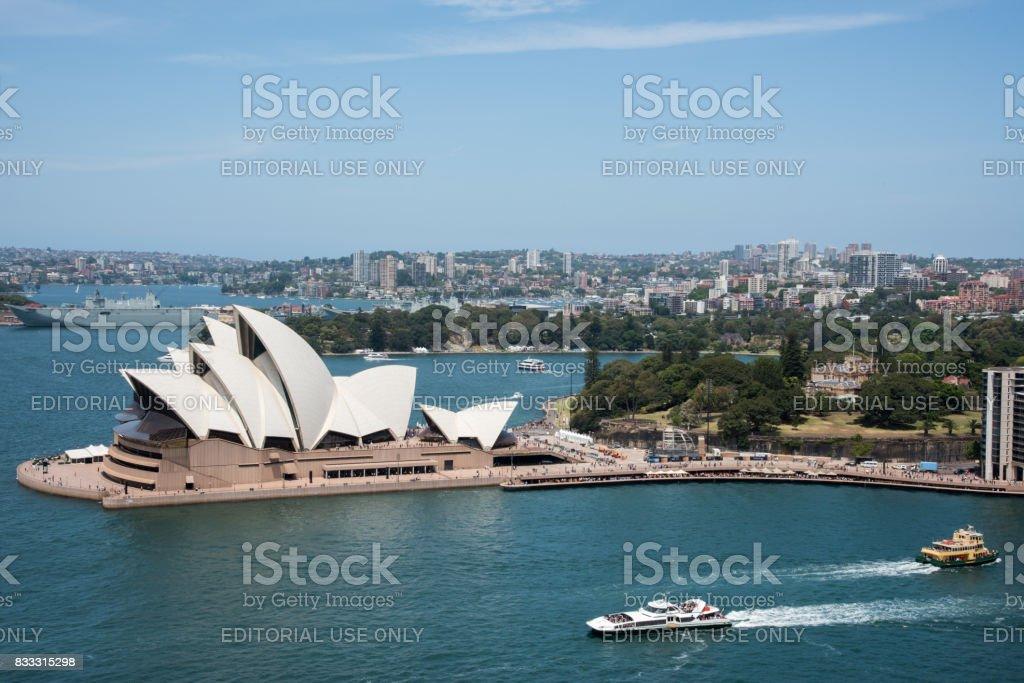 Sydney Opera House and Botanic Gardens stock photo