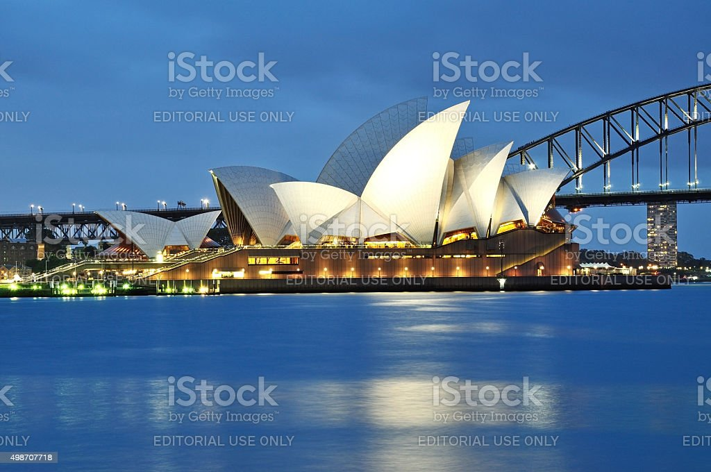 Sydney Opera House and harbor bridge night view stock photo