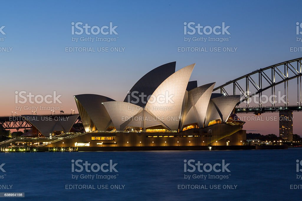 Sydney Opera House and Harbour Bridge at sundown stock photo