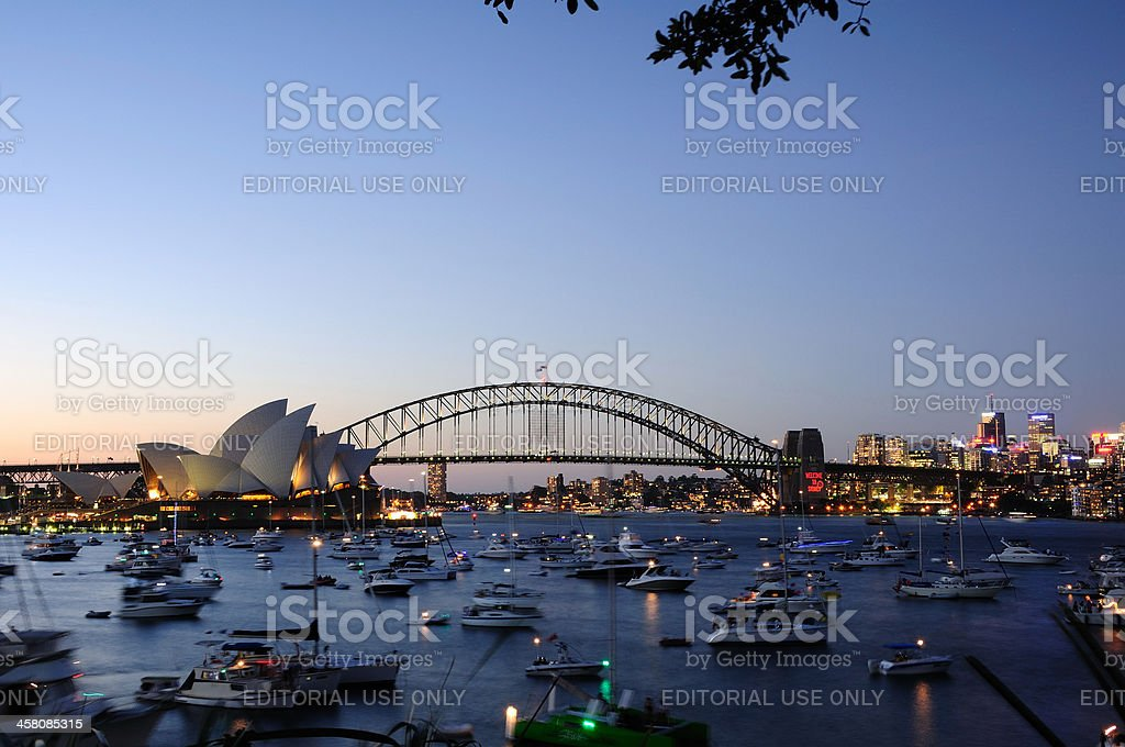 Sydney Opera House and Harbour Bridge royalty-free stock photo