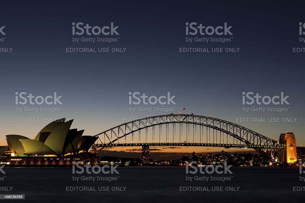 Sydney Opera House and Harbour Bridge sunset royalty-free stock photo
