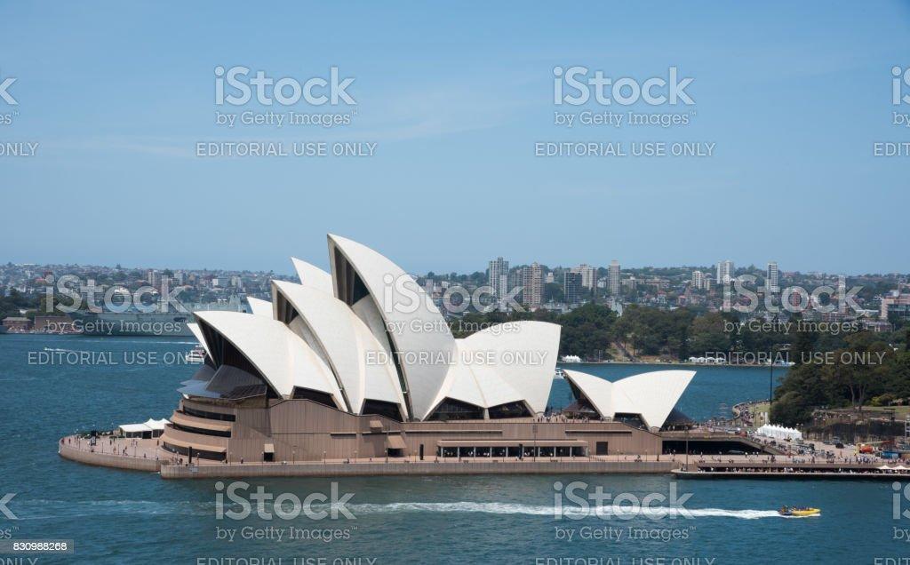 Sydney Opera House and Jet Boat stock photo