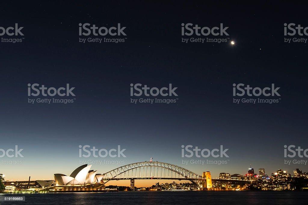 Sydney Opera House and Sydney Harbor Bridge at Dusk stock photo