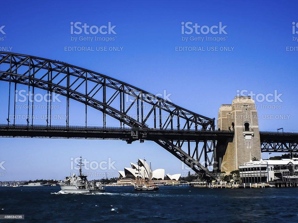 Sydney opera house and the bridge foreground. royalty-free stock photo