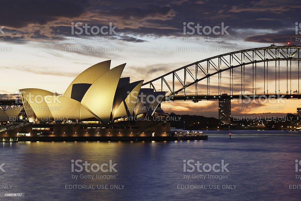 Sydney Opera House and the Harbor Bridge stock photo