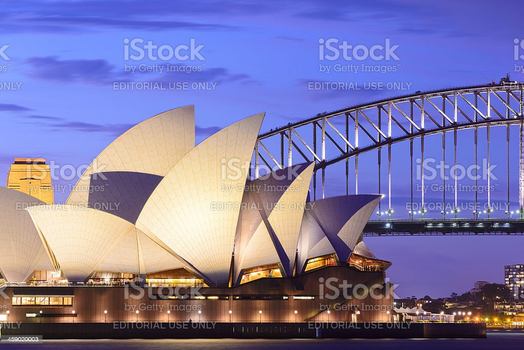 Sydney Opera House at Night in Australia royalty-free stock photo