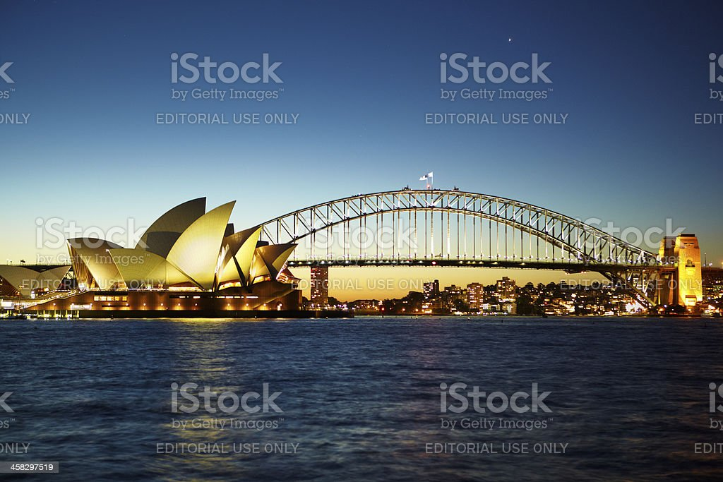 Sydney opera house at nite royalty-free stock photo