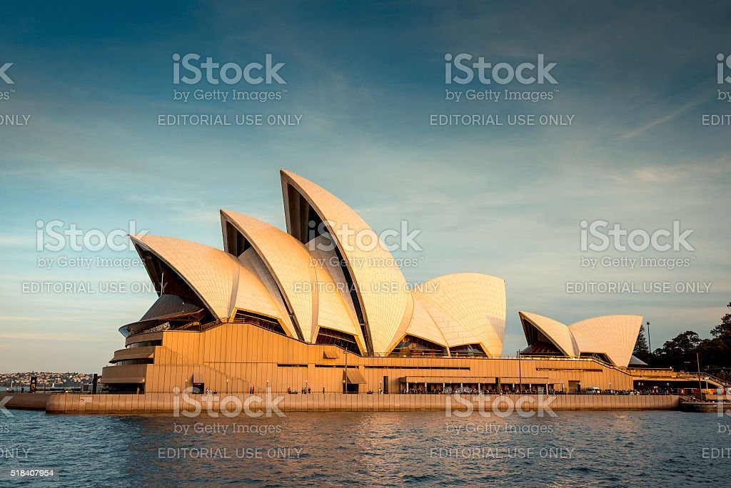 Sydney Opera House at sunset stock photo