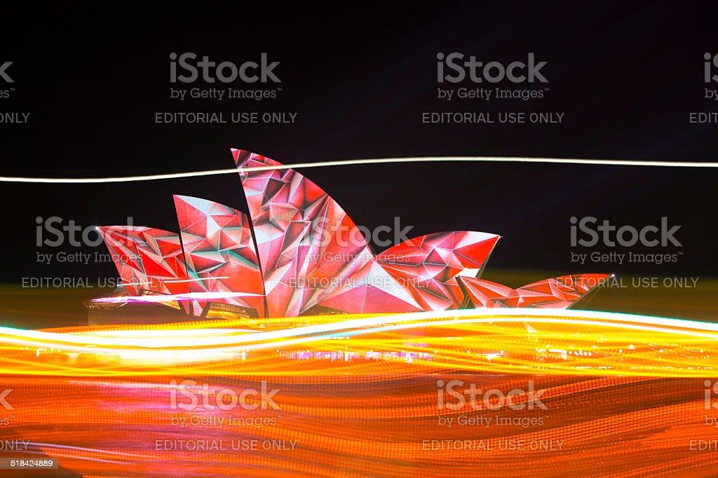Sydney Opera House during Vivid Light Festival royalty-free stock photo
