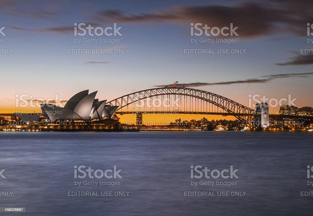 Sydney, Opera House & Harbour Bridge royalty-free stock photo