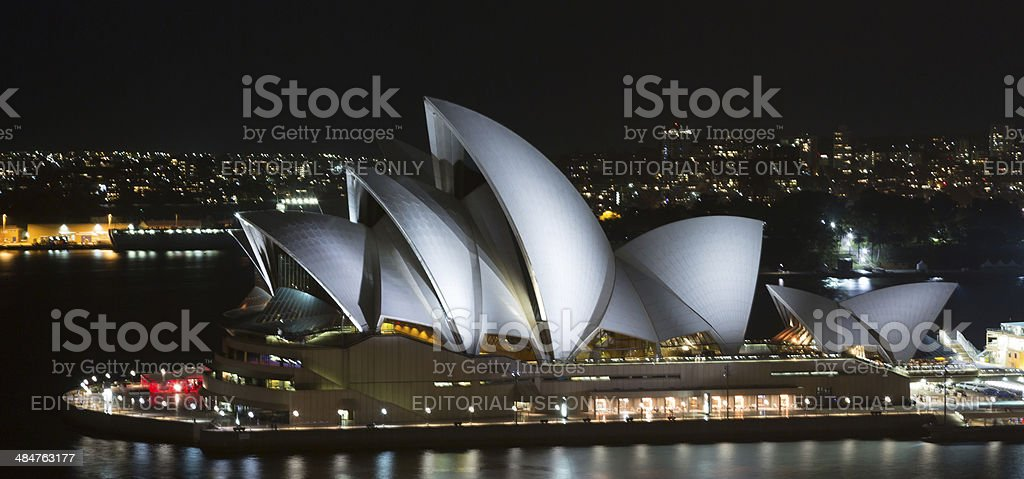 Sydney Opera House Illuminated at Night, Australia stock photo