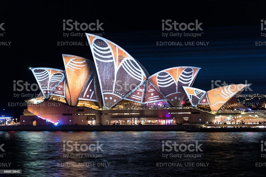 Sydney Opera House illumination Songlines During Vivid Sydney Fe stock photo