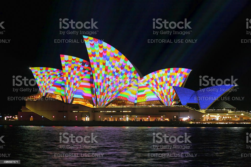 Sydney Opera House in geometric colour royalty-free stock photo