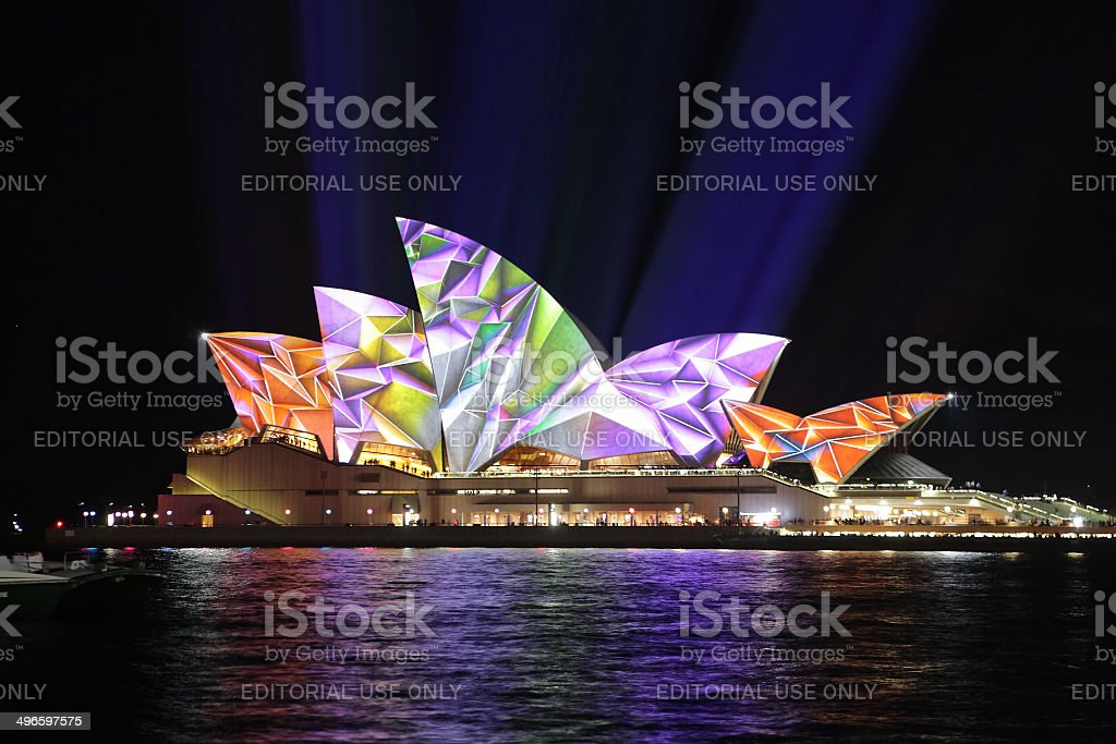 Sydney Opera House in vibrant geometric colours royalty-free stock photo