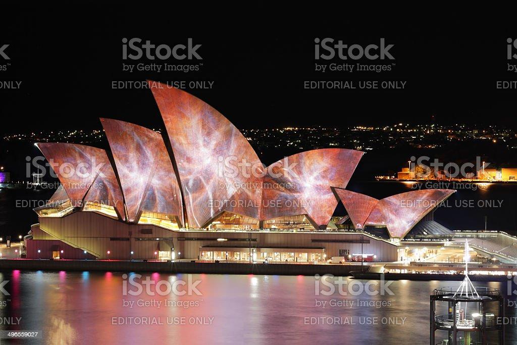 Sydney Opera House  vibrant colours during Vivid Sydney festival royalty-free stock photo