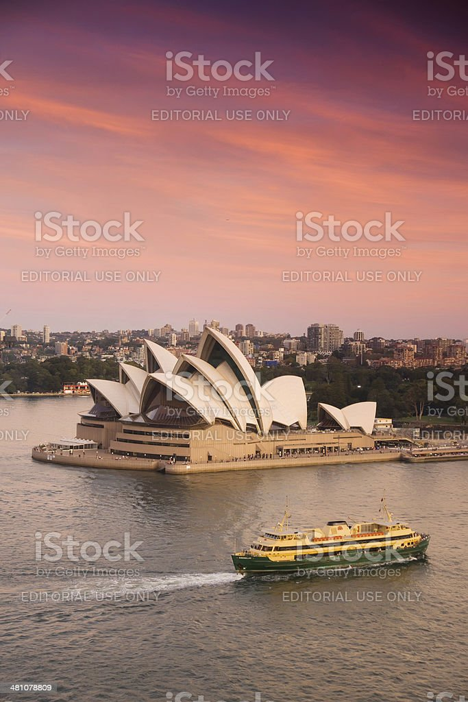 Sydney Opera House with passing Manly Ferry stock photo