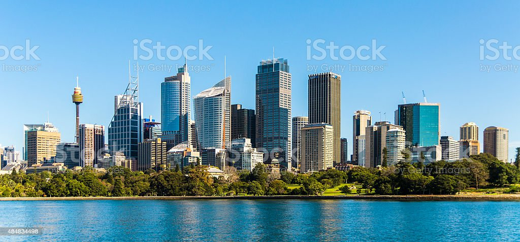 Sydney panoramic view. Australia, July. Skyscrapers reflected in the water stock photo