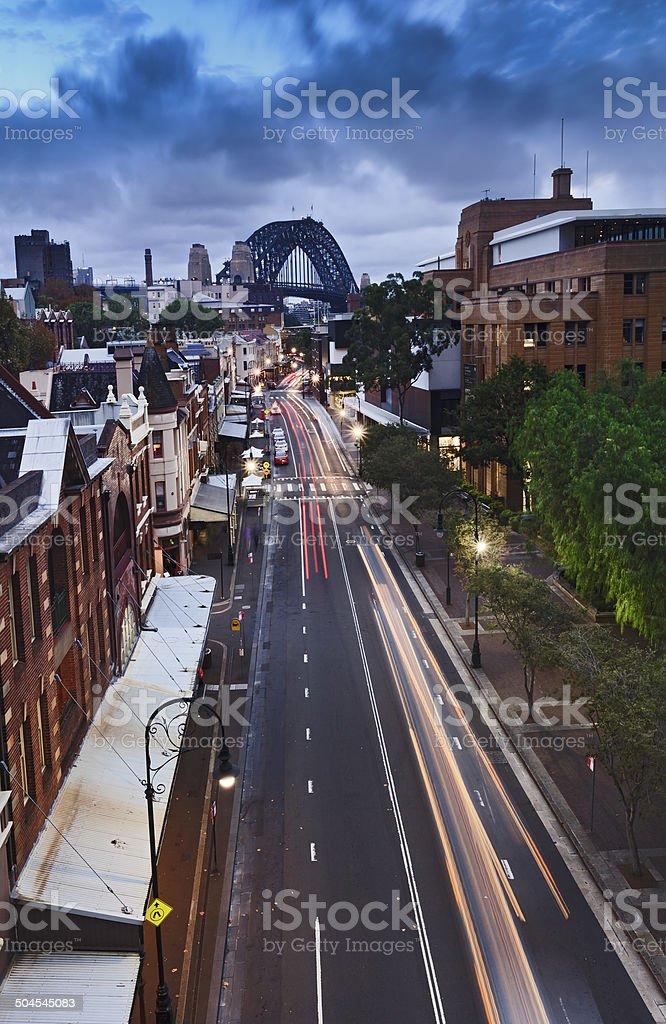 Sydney Rocks Bridge Vertical sunset stock photo