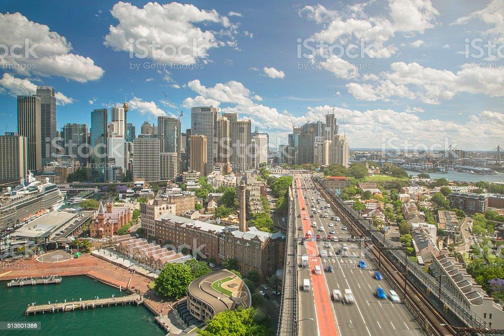 Sydney skyline and traffic stock photo