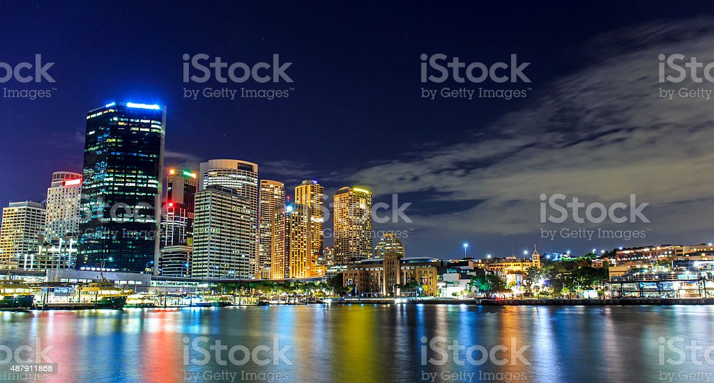 Sydney Skyline at Night stock photo