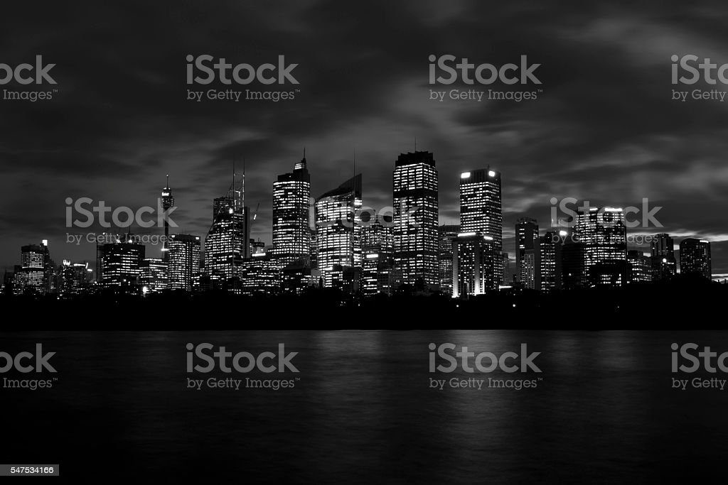Sydney Skyline Black and White stock photo