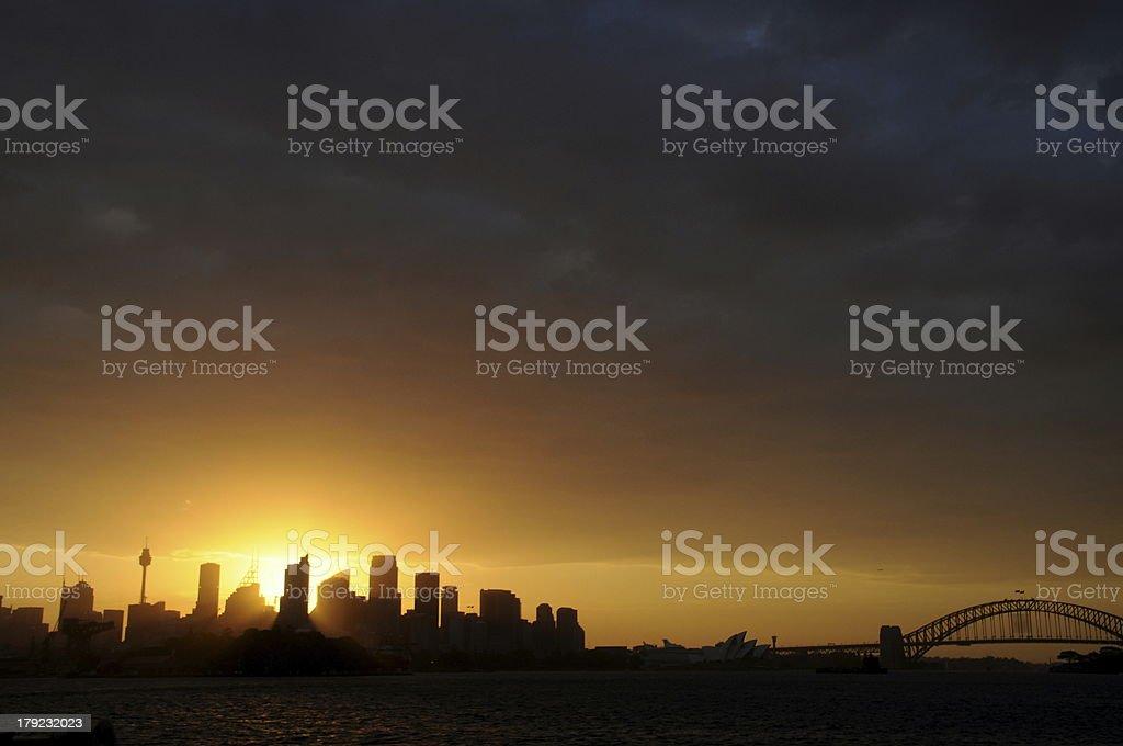Sydney Skyline CBD Sillhouette royalty-free stock photo