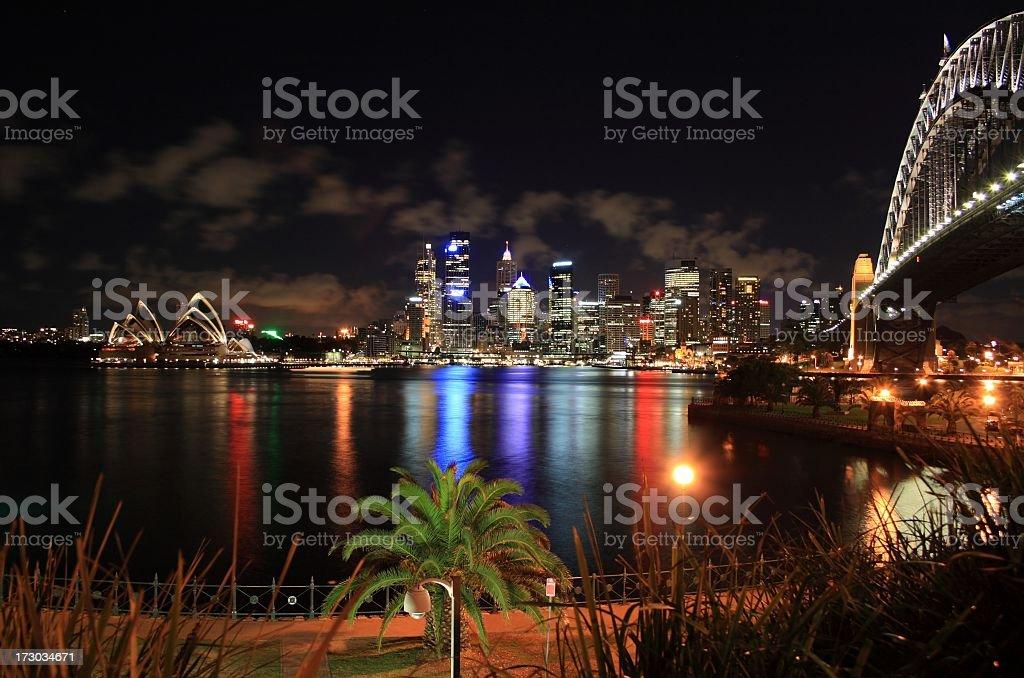 Sydney Skyline Panorama at Night royalty-free stock photo