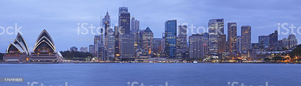 Sydney Skyline Panorama at Night royalty-free stock photo