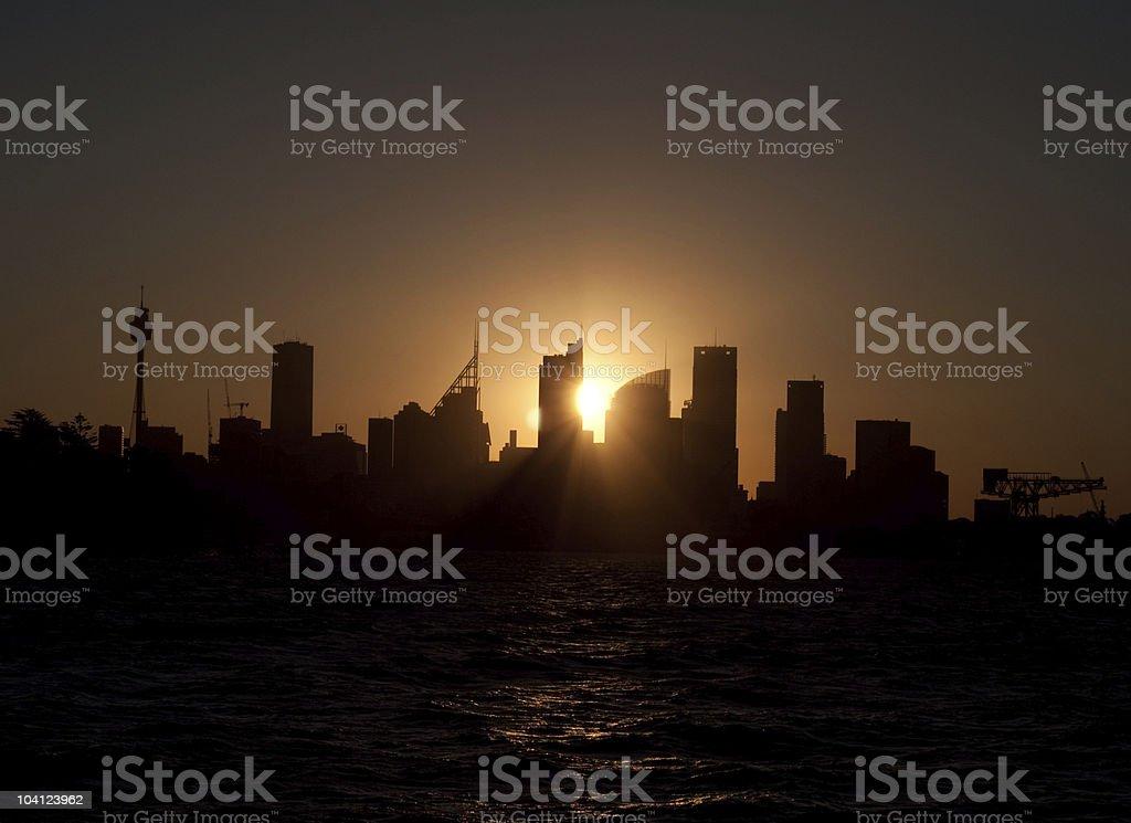 Sydney skyline sunset royalty-free stock photo