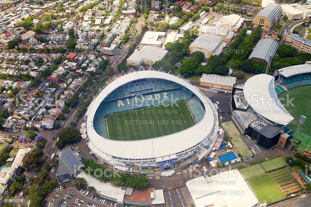 Sydney Stadium aerial view stock photo