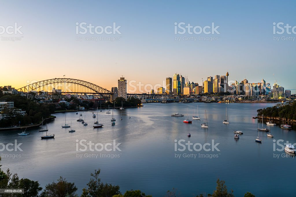 Sydney Sunrise at Waverton, Sydney, Australia stock photo