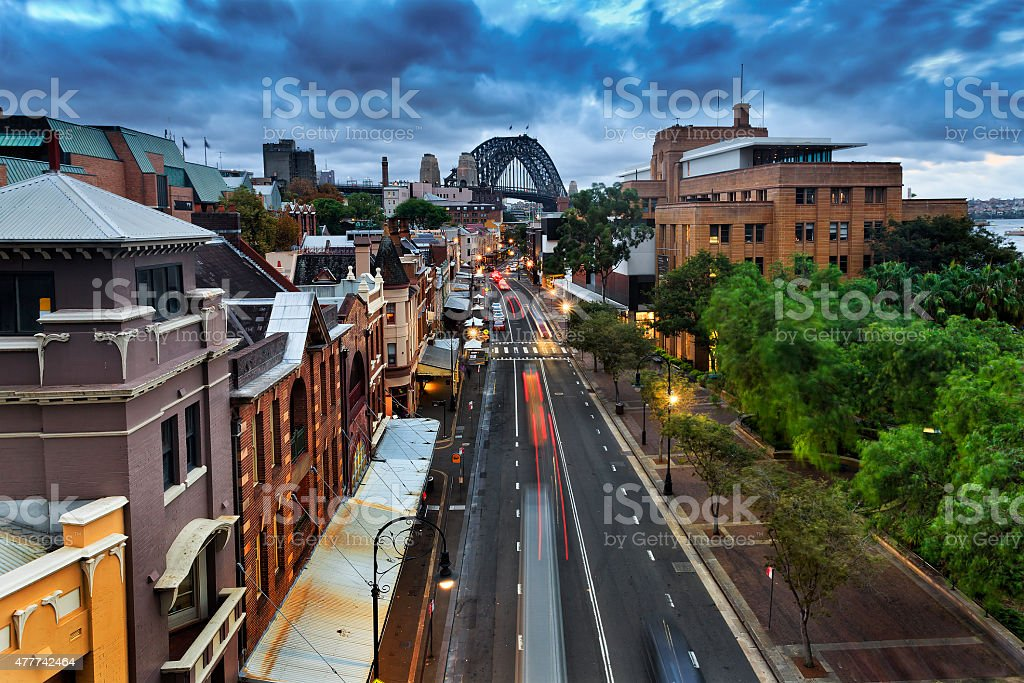 Sydney The Rocks Sunset from Cahill stock photo