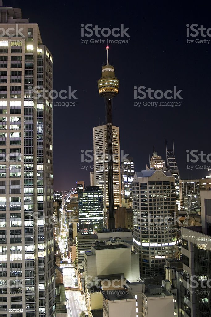 Sydney Tower and city at night royalty-free stock photo