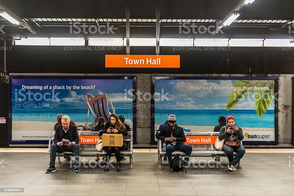 Sydney Town Hall Railway Station, Australia stock photo