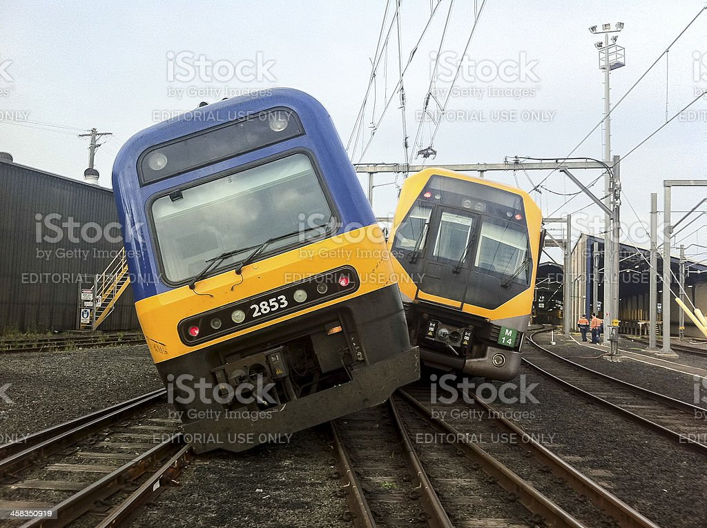 Sydney train crash stock photo