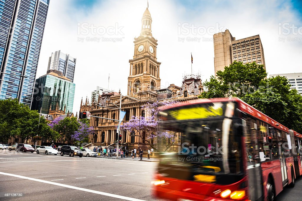Sydney transportations. Bus in a crowded street in Town Hall stock photo