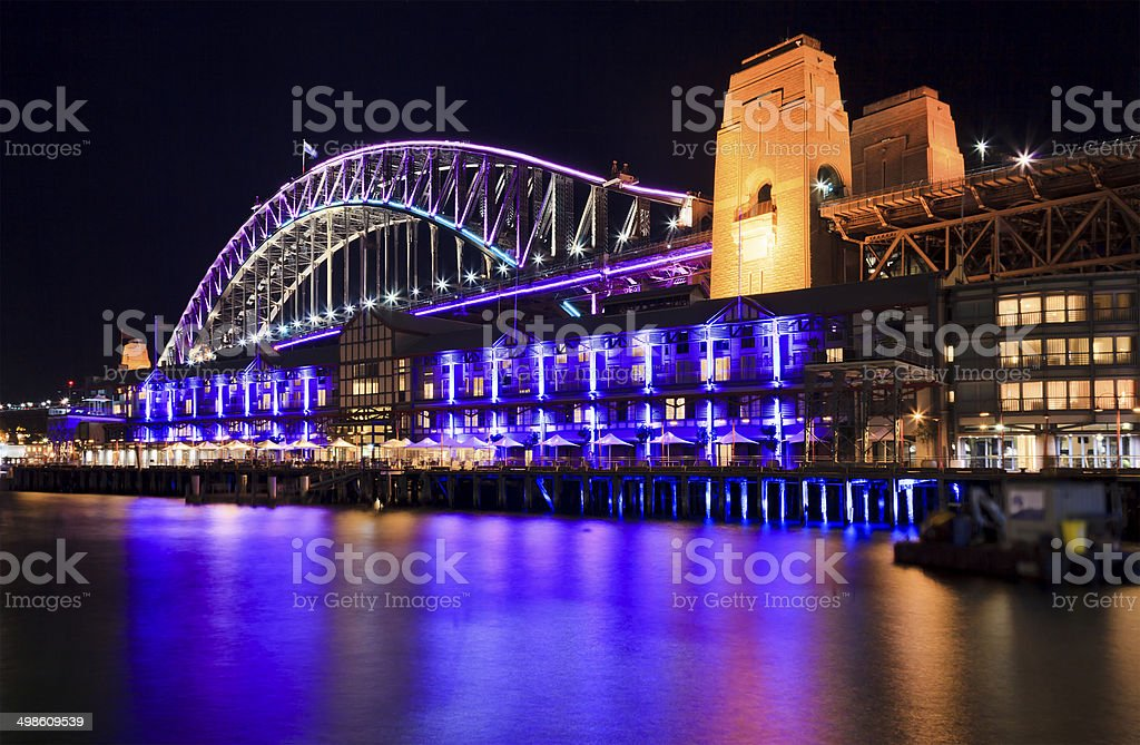 Sydney Vivid Bridge Rocks stock photo