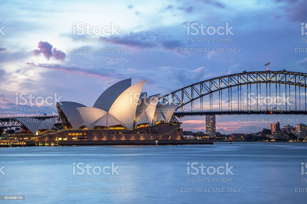 Sydney waterfront at night stock photo