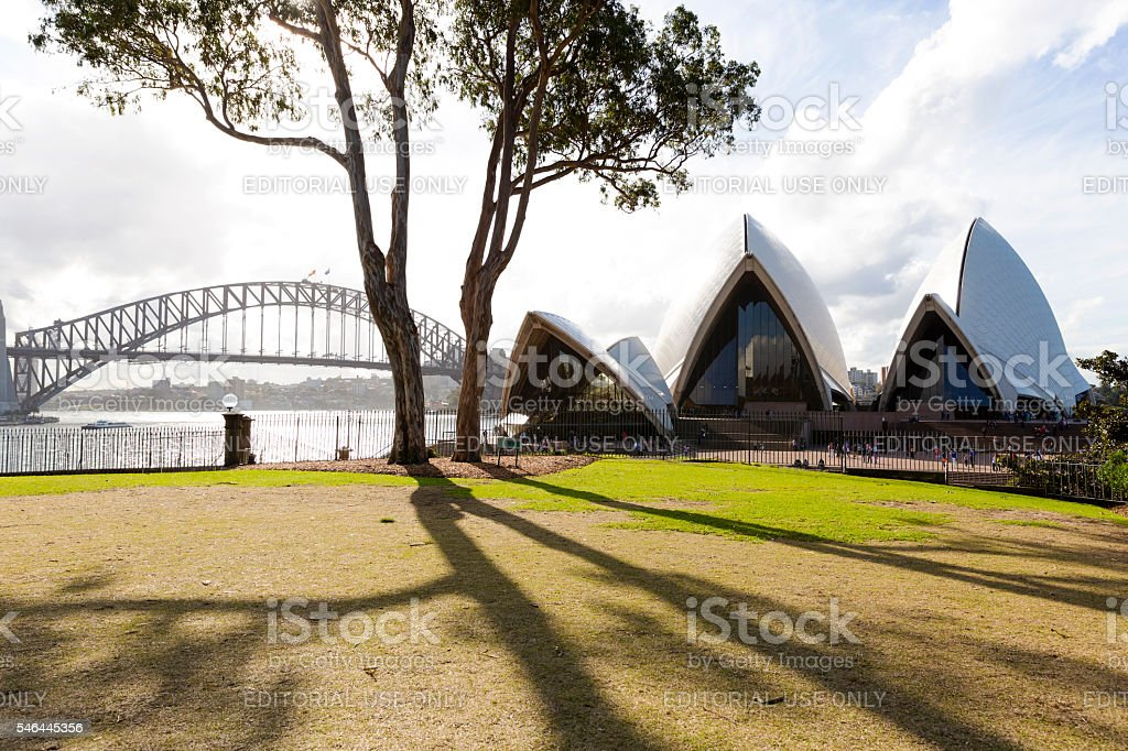 Sydney's Opera House and Harbour Bridge view from Botanical Garden stock photo