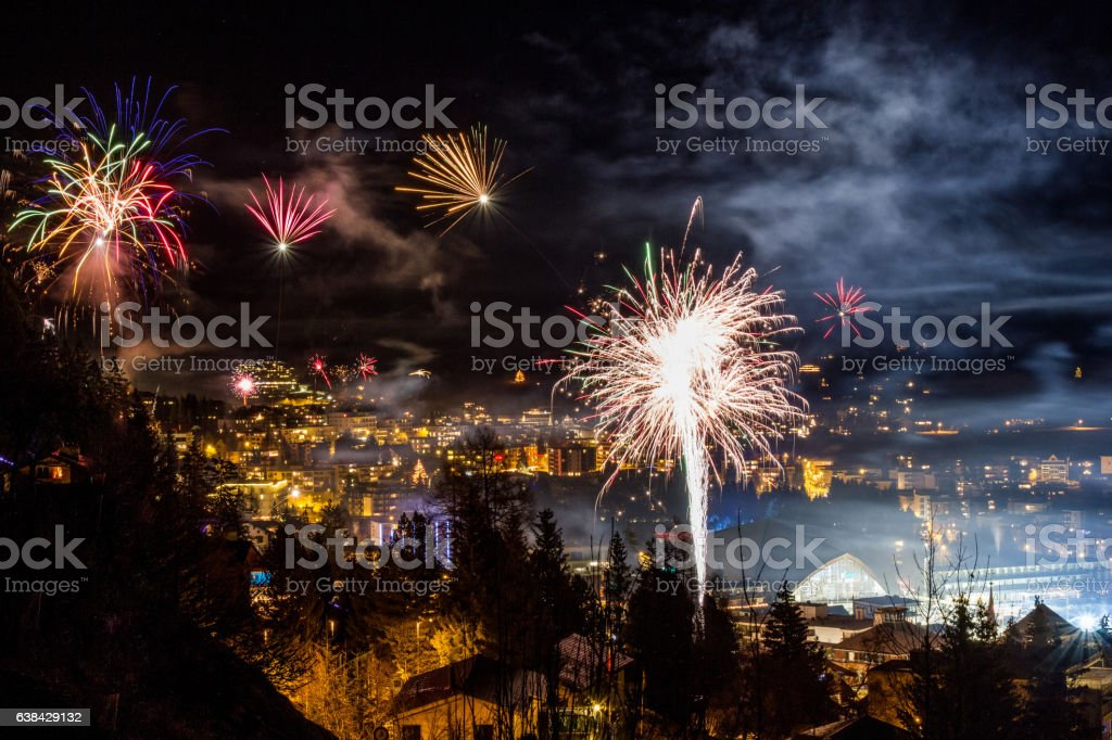Sylvester Firework in Davos Switzerland stock photo