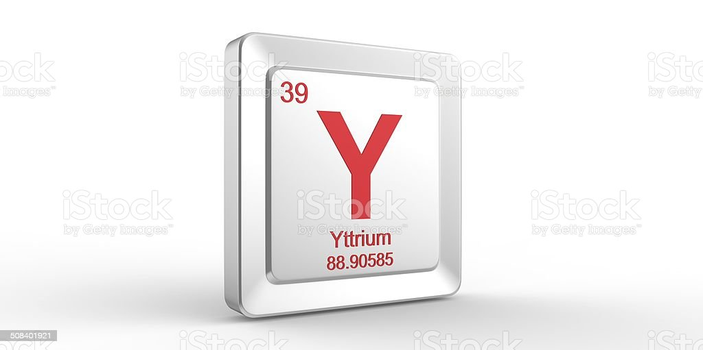 Y symbol 39 material for Yttrium chemical element stock photo