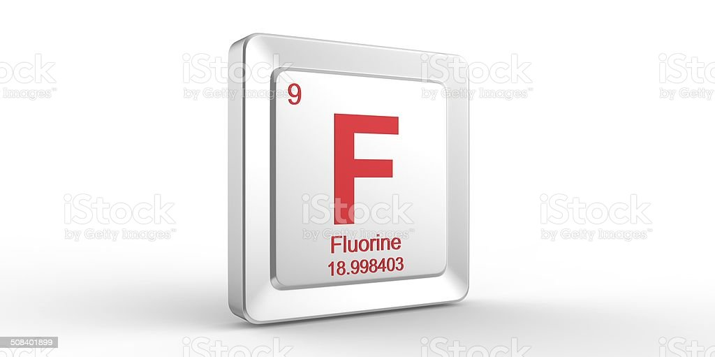 F symbol 9 material for Fluorine chemical element stock photo