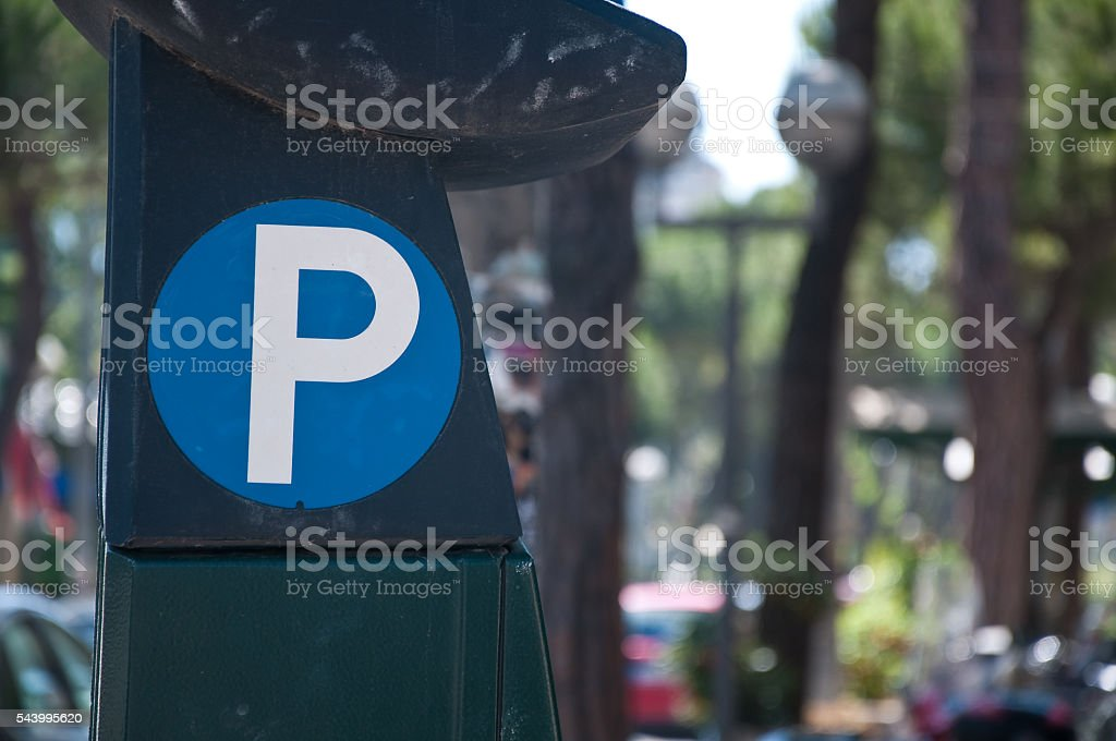 symbol attached to a parking meter stock photo