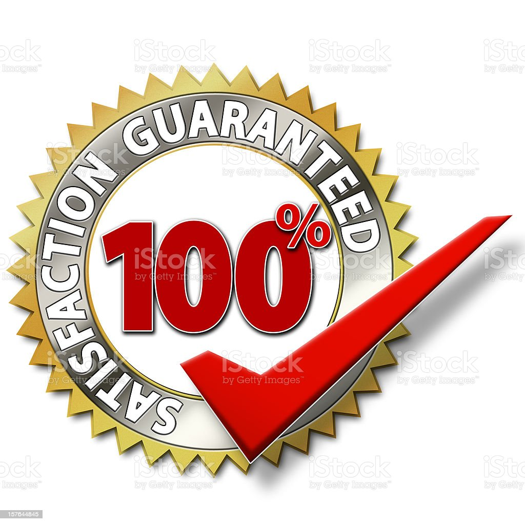 Symbol certifying 100% satisfaction is guaranteed stock photo
