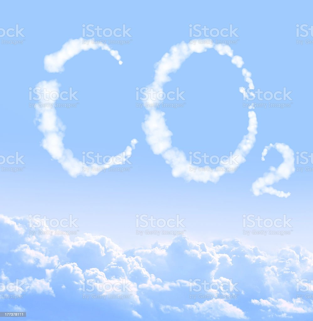 Symbol CO2 from clouds royalty-free stock photo