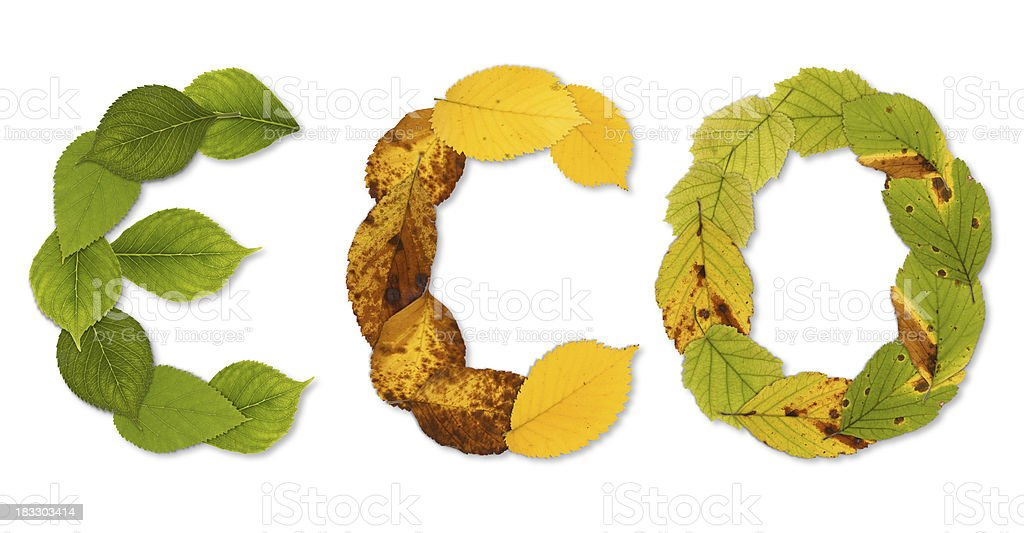 ECO Symbol composed from leaves stock photo
