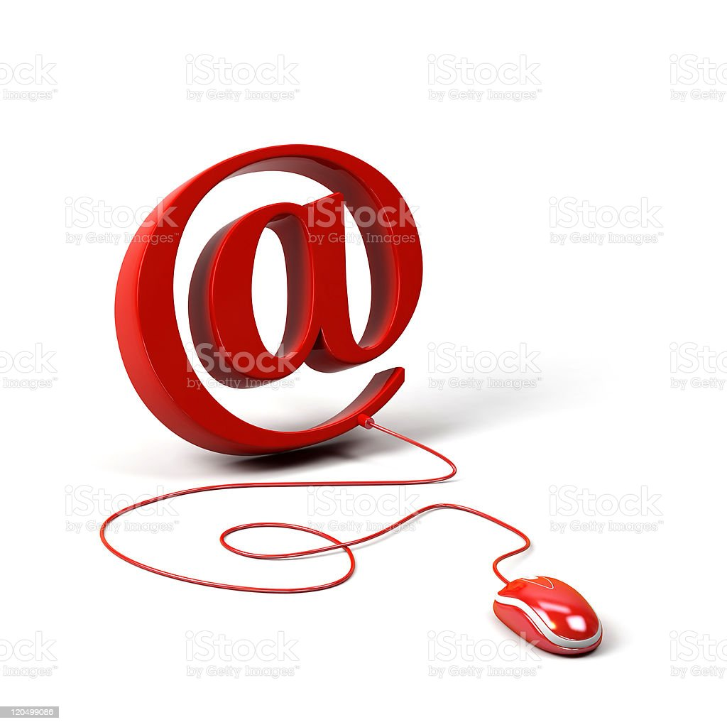 AT symbol connected to a computer mouse. 3d image. stock photo