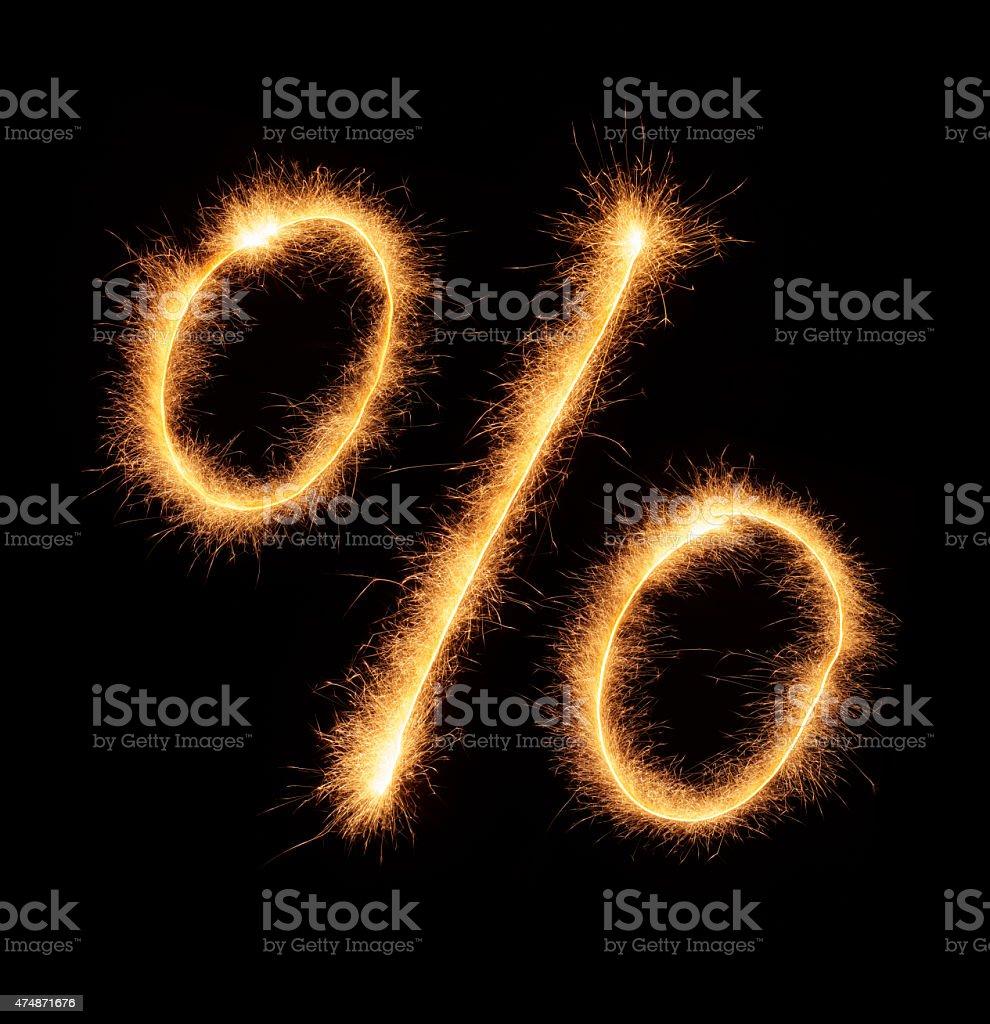 '%' symbol drawn with bengali sparkles stock photo