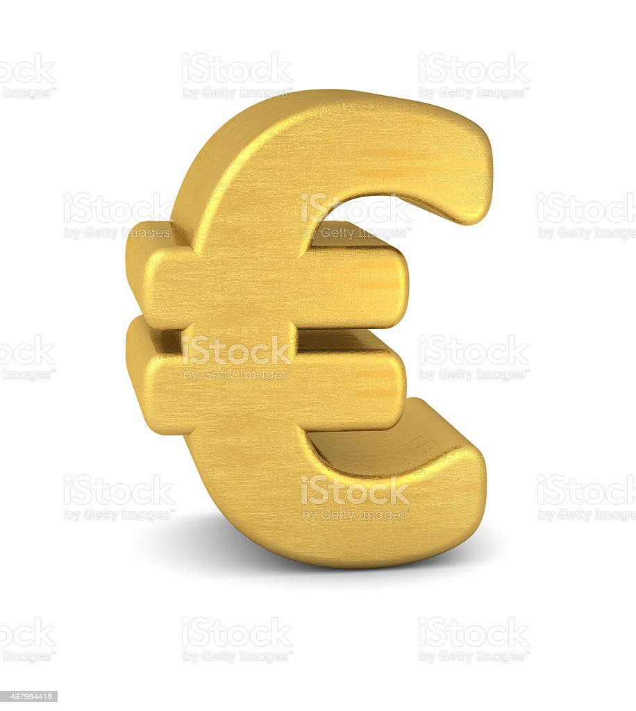 symbol euro gold vertikal stock photo