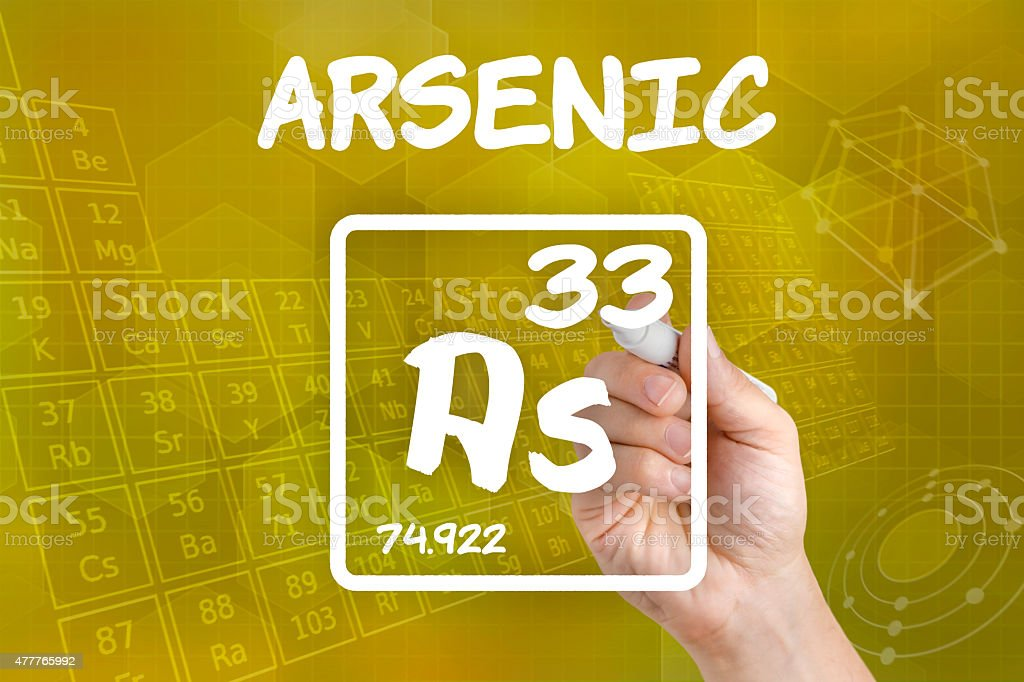 Symbol for the chemical element arsenic stock photo